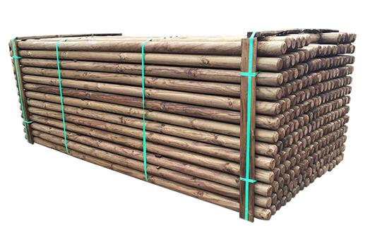 ( L 220cm / Ø 6 cm ) Brunimprægnerede rafter