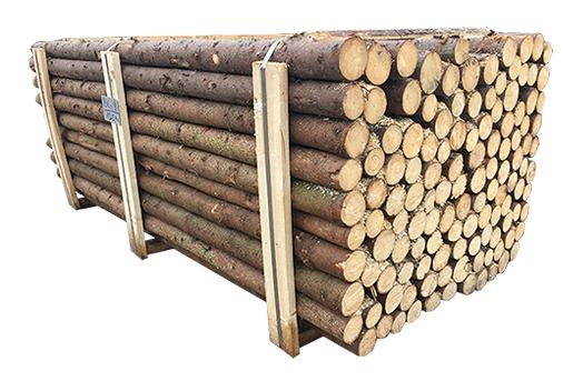 ( L 220 cm / Ø 5-9 cm ) Rafter med bark, Gran