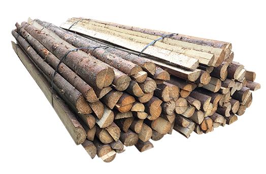 ( L 220 cm / Ø 6-9 cm ) Flækkede Rafter med bark, Gran