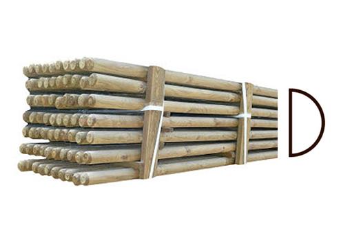 ( L 220 cm / Ø 7 cm ) Trykimpr. flækkede rafter